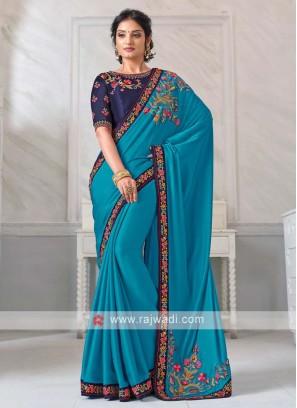 Art Silk Saree In Sky Blue