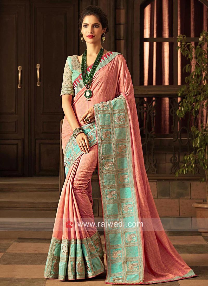 Art Silk Saree with Broad Designer Border