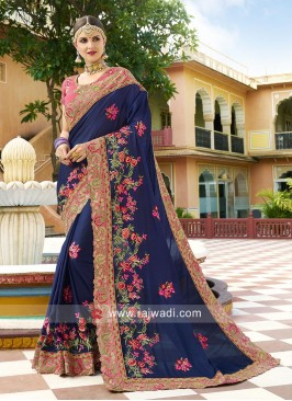 Art Silk Saree with Embroidered Border