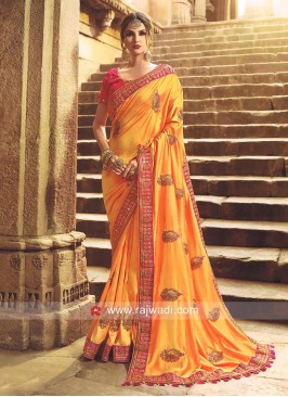 Art Silk Saree with Embroidery
