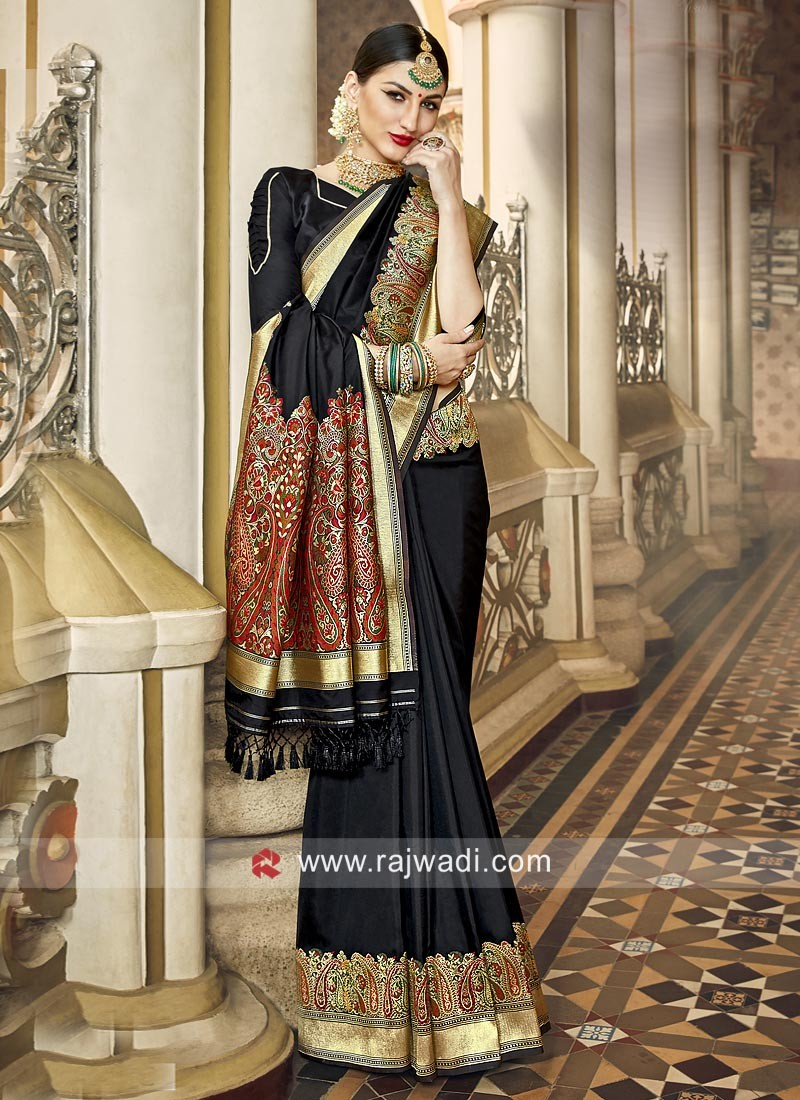 Art Silk Saree with Golden Border