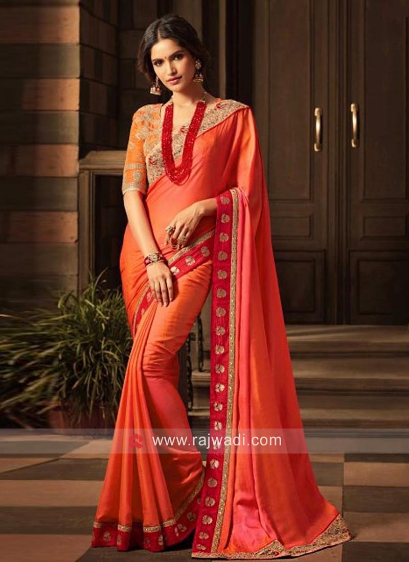 Art Silk Saree with Orange Heavy Blouse