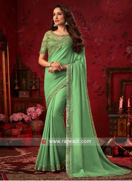 Art Silk Saree with Raw Silk and Net Blouse