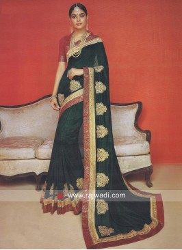 Art Silk Saree with Raw Silk Blouse