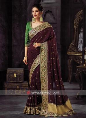 Art Silk Saree with Raw Silk Blouse