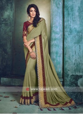 Art Silk Saree with Tassels