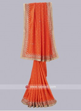 Art Silk Sari in Dark Orange