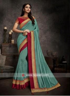 Art Silk Sari in Light Sea Green