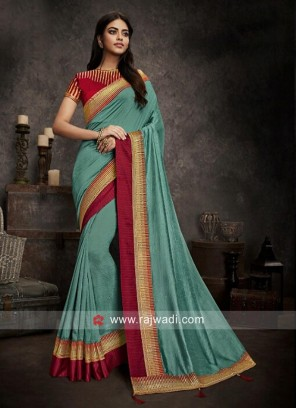 Art Silk Sari in Light Sea Green