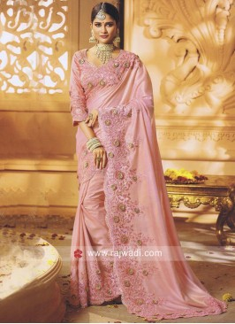 Art Silk Sari in Pink