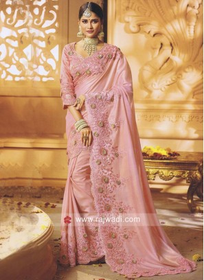 Art Silk Sari in Pink