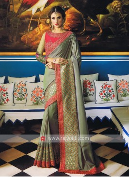 Art Silk Sari with Contrast Cut Work Border