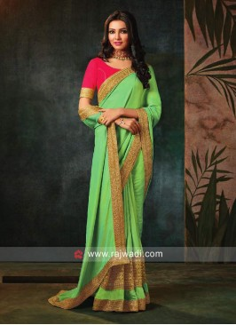 Art Silk Sari with Raw Silk Blouse