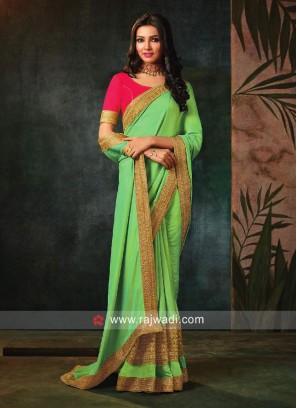 Art Silk Sari with Raw Silk Blouse