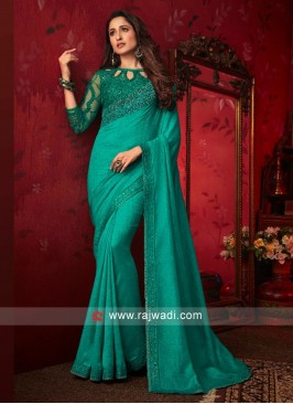 Art Silk Sea Green Border Work Saree