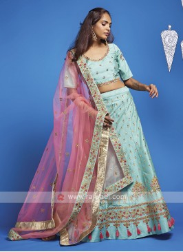 Art Silk Sky Blue Lehenga Choli
