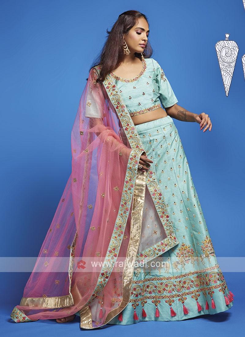 Art Silk Sky Blue Lehenga Choli