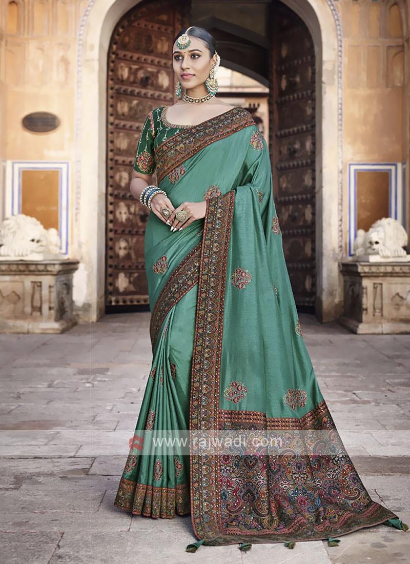 Art Silk Sea Green Saree