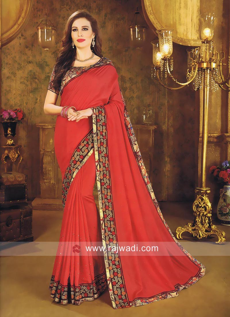 Art Silk Sequins Work Saree