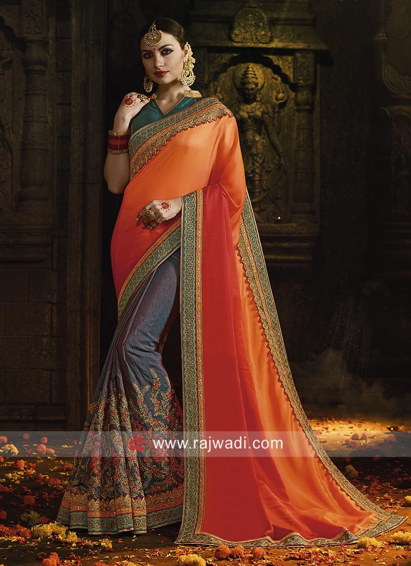 Art Silk Shaded Half n Half Saree