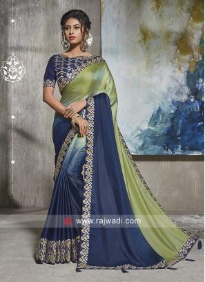 Art Silk Shaded Saree with Border