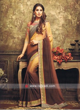 Art Silk Shaded Sari with Heavy Blouse