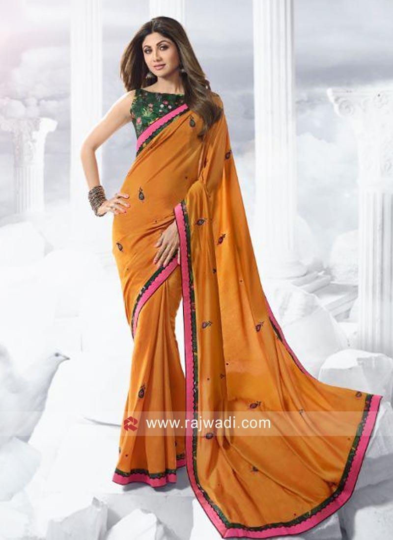 Art Silk Shilpa Shetty Party Wear Saree
