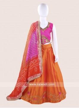 Art Silk Stitched Ghagra Choli for Baby Girls