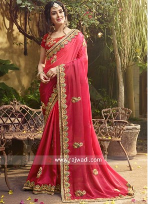 Art Silk Stone and Zari Work Saree