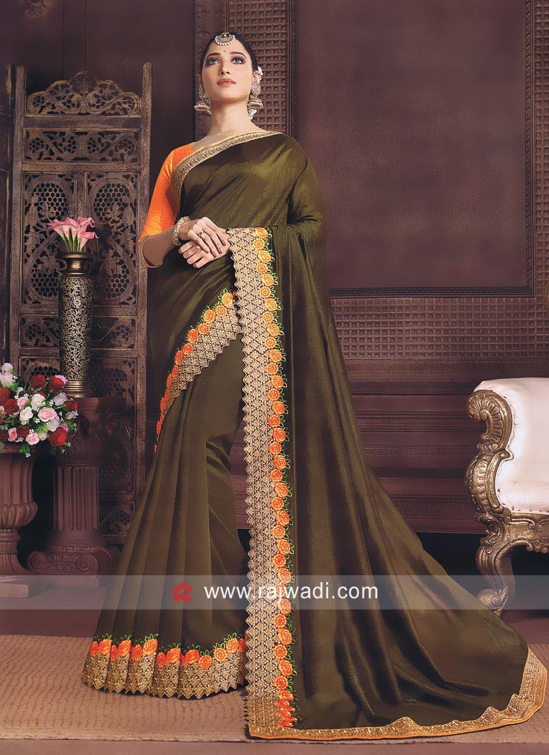 Art Silk Tamannaah Bhatia Saree in Olive