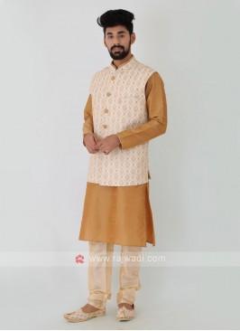 Art Silk Thread work Nehru Jacket set