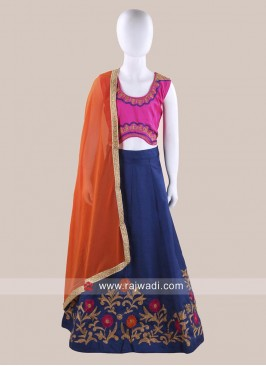 Art Silk Traditional Chaniya Choli for Kids