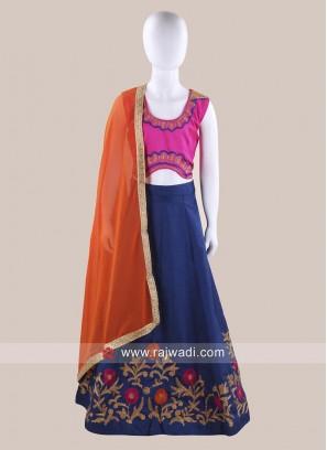 Art Silk Traditional Chaniya Choli for Kids