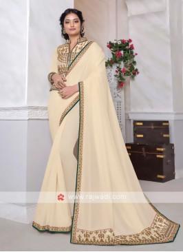 Art Silk Cream Saree