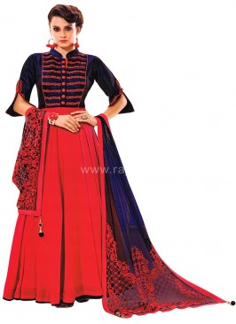 Art Silk Wedding Anarkali Suit with Designer Dupatta