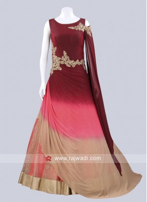 Art Silk Wedding Drape Gown