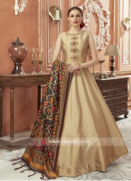 Art Silk Wedding Floor Length Anarkali Dress
