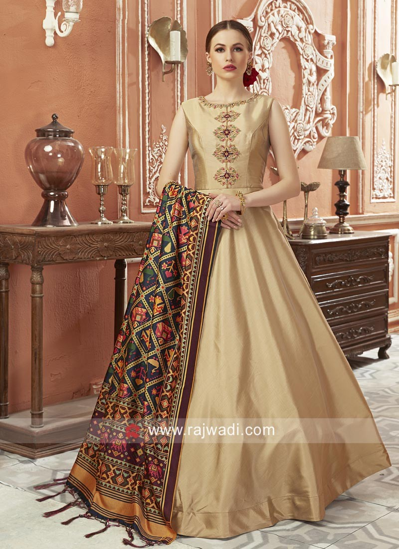 Art Silk Wedding Floor Length Anarkali Dress