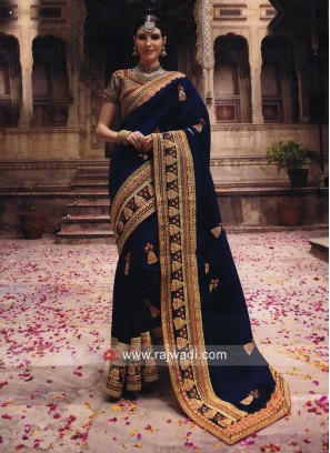 Art Silk Wedding Heavy Saree in Blue