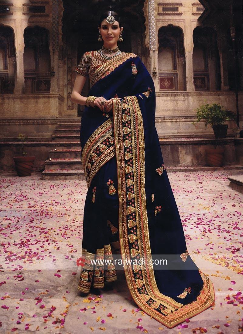 Art Silk Wedding Heavy Saree in Blue