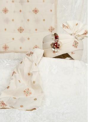 Art Silk Wedding Safa And Dupatta In Off-White