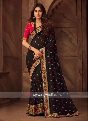 Art Silk Wedding Saree in Black