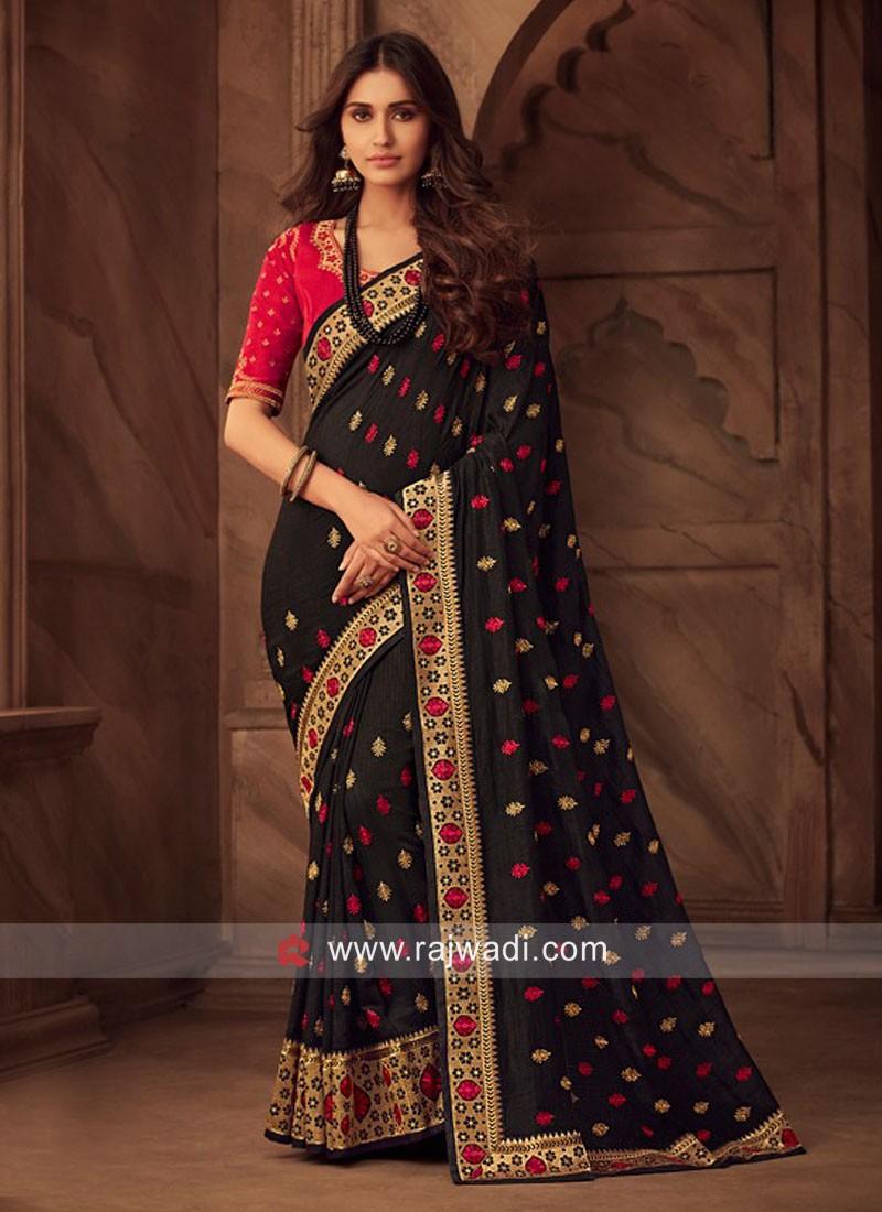 Art Silk Wedding Saree in Black