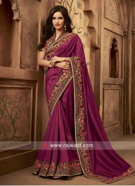Art Silk Wedding Saree in Magenta