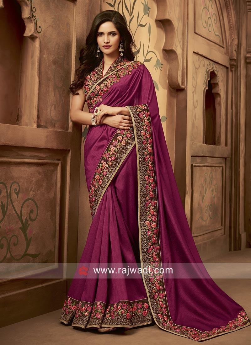 Art Silk Wedding Saree in Magenta