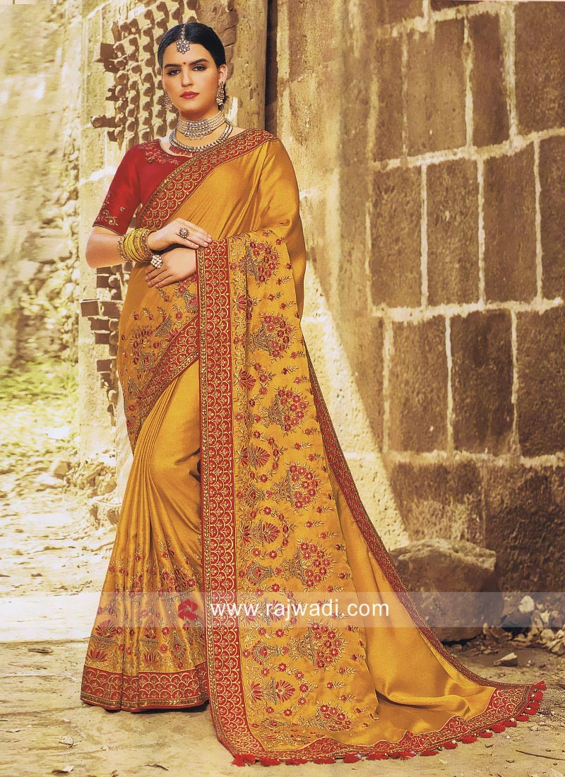 Art Silk Wedding Saree in Mustard Yellow