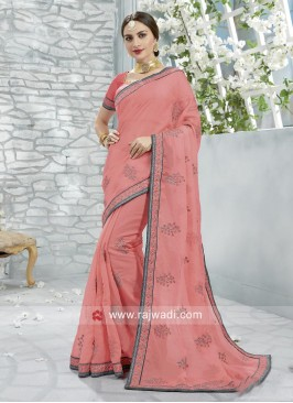 Art Silk Wedding Saree in Peach