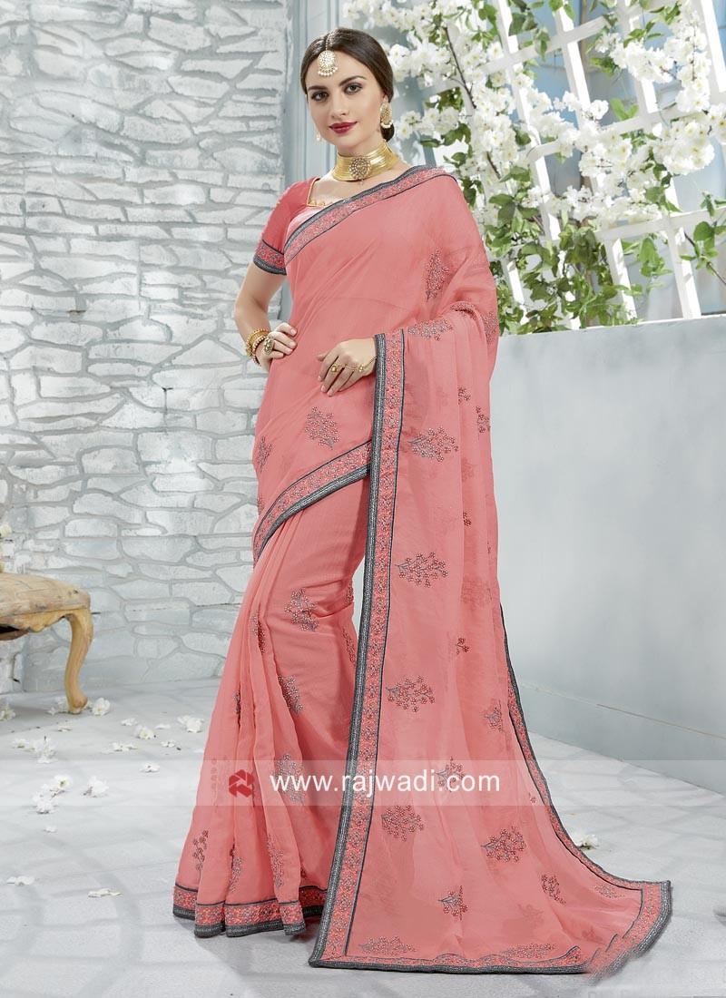 Art Silk Wedding Saree in Peach