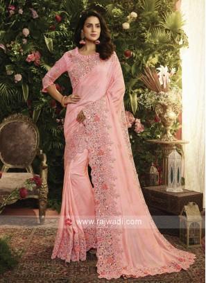 Art Silk Wedding Saree in Pink
