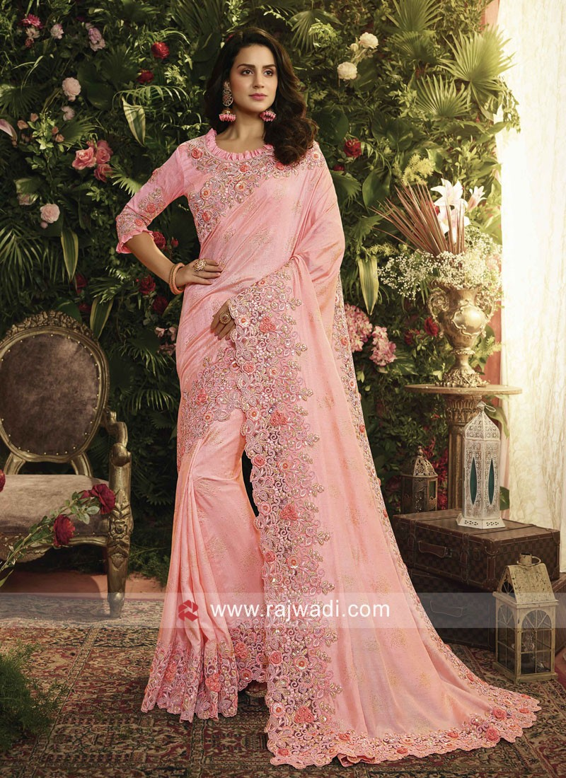 Art Silk Wedding Saree in Pink